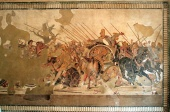 The Battle of Issus shown on the Alexander Mosaic (c 100 BC), in Pompeii