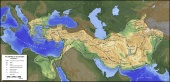 Map of Alexander's empire and the paths of the conquests (334-323 BC)