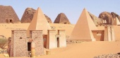Wide view of Nubian pyramids, Meroe (Sudan)