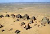 Aerial view at Nubian pyramids, Meroe (Sudan)