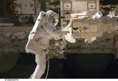 Astronaut Robert L. Satcher Jr., STS-129, in the first extravehicular activity (EVA)