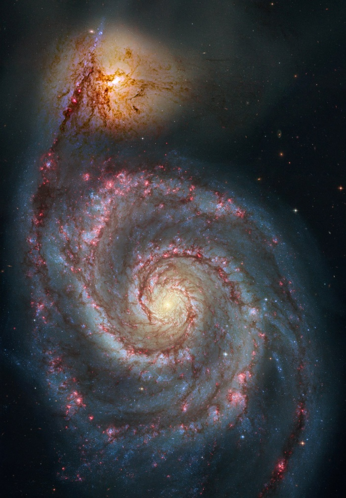 M51 Hubble Remix Astronomy Picture of the Day - 2009 December 26 Credit: S. Beckwith (STScI), Hubble Heritage Team, (STScI/AURA), ESA, NASA Additional Processing: Robert Gendler  Explanation: The 51st entry in Charles Messier's famous catalog is perhaps the original spiral nebula - a large galaxy with a well defined spiral structure also cataloged as NGC 5194. Over 60,000 light-years across, M51's spiral arms and dust lanes clearly sweep in front of its companion galaxy (right), NGC 5195. Image data from the Hubble's Advanced Camera for Surveys has been reprocessed to produce this alternative portrait of the well-known interacting galaxy pair. The processing has further sharpened details and enhanced color and contrast in otherwise faint areas, bringing out dust lanes and extended streams that cross the small companion, along with features in the surroundings and core of M51 itself. The pair are about 31 million light-years distant. Not far on the sky from the handle of the Big Dipper, they officially lie within the boundaries of the small constellation Canes Venatici.