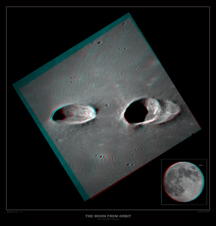 Messier Craters in Stereo Astronomy Picture of the Day - 2009 December 11 Credit Apollo 11, NASA; Stereo Image by Patrick Vantuyne  Explanation: Many bright nebulae and star clusters in planet Earth's sky are associated with the name of astronomer Charles Messier, from his famous 18th century catalog. His name is also given to these two large and remarkable craters on the Moon. Standouts in the dark, smooth lunar Sea of Fertility or Mare Fecunditatis, Messier (left) and Messier A have dimensions of 15 by 8 and 16 by 11 kilometers respectively. Their elongated shapes are explained by an extremely shallow-angle trajectory followed by the impactor, moving left to right, that gouged out the craters. The shallow impact also resulted in two bright rays of material extending along the surface to the right, beyond the picture. Intended to be viewed with red/blue glasses (red for the left eye), this striking stereo picture of the crater pair was recently created from high resolution scans of two images (AS11-42-6304, AS11-42-6305) taken during the Apollo 11 mission to the moon.