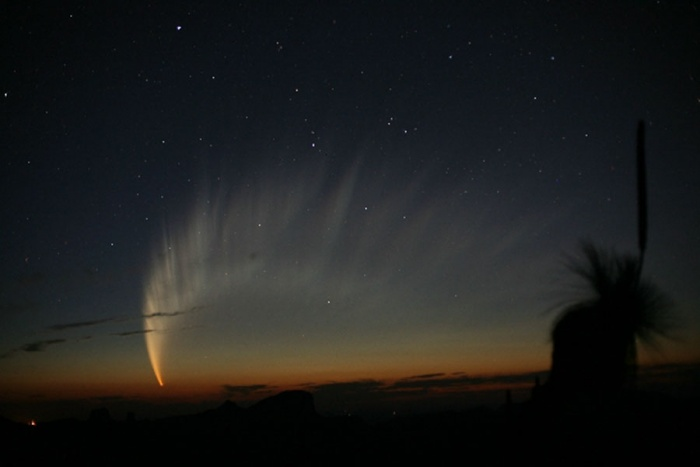 The Magnificent Tail of Comet McNaught Astronomy Picture of the Day - 2009 December 6 Credit & Copyright: Robert H. McNaught  Explanation: Comet McNaught, the Great Comet of 2007, was the brightest comet of the last 40 years. Its spectacular tail spread across the sky and was breathtaking to behold from dark locations for many Southern Hemisphere observers. The head of the comet remained quite bright and was easily visible to even city observers without any optical aide. Part of the spectacular tail was visible just above the horizon after sunset for many northern observers as well. Comet C/2006 P1 (McNaught), which reached an estimated peak brightness of magnitude -6 (minus six), was caught by the comet's discoverer in the above image soon after sunset in 2007 January from Siding Spring Observatory in Australia. The robotic Ulysses spacecraft fortuitously flew through Comet McNaught's tail and found, unexpectedly, that the speed of the solar wind dropped significantly.