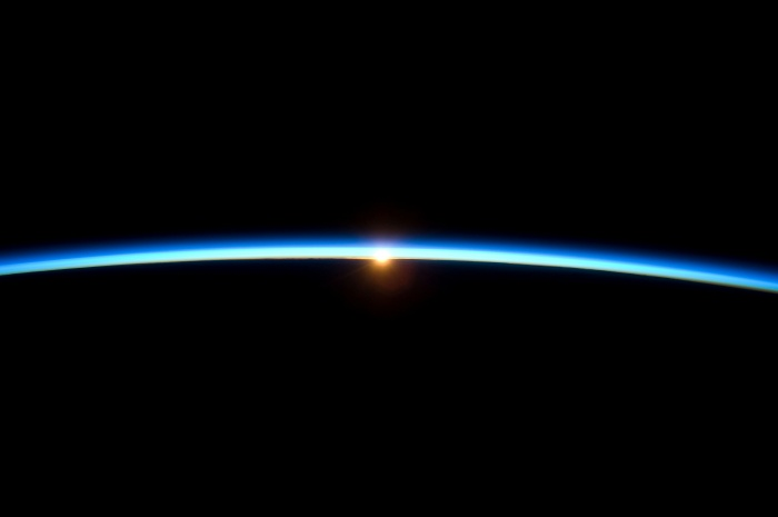 Golden sunset and Earth's thin, blue atmosphere, November 23, 2009 As seen from the International Space Station (Expedition 21)  Credit: NASA