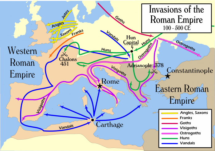 2nd to 5th century simplified migrations. See also map of the world in 820 A.D..