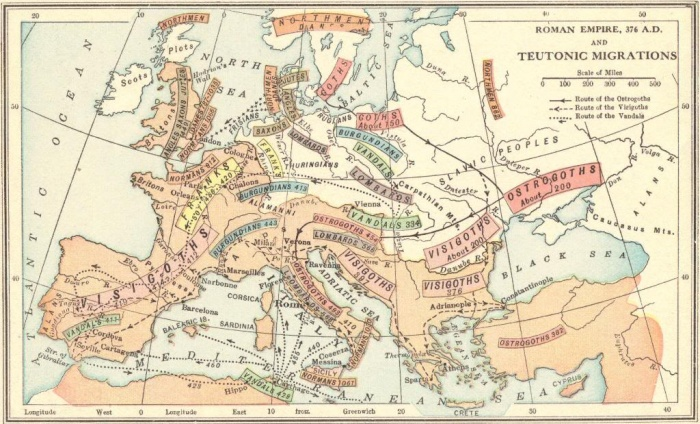 Roman Empire 376 A.D. and the Teutonic Migrations