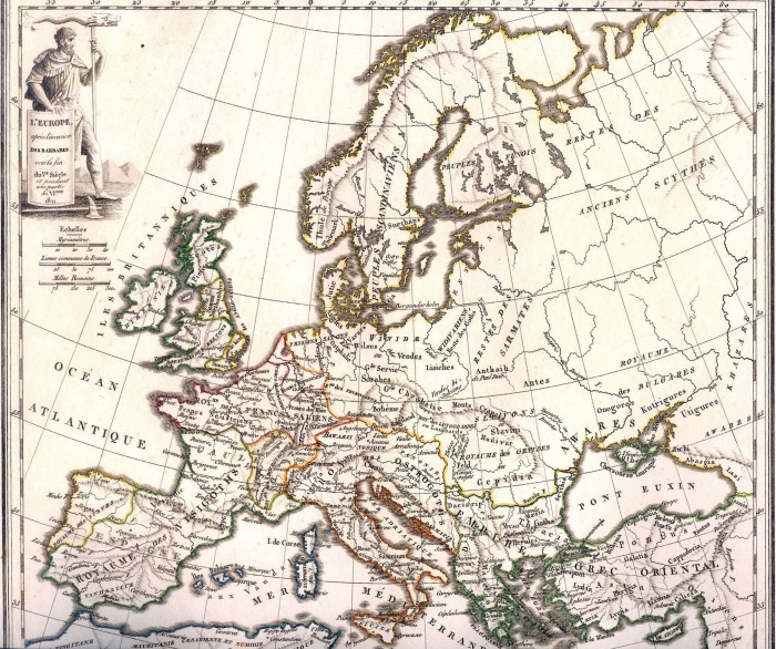 Europe after the Barbarian Invasions at the end of the Fifth Century A.D. (1811 map)