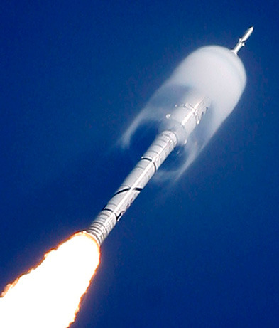 Top Ten Space Pictures of 2009: NASA Rocket Gets Cloud Cover  A cone of moisture surrounds part of NASA's Ares I-X rocket during its suborbital test flight over Florida's Kennedy Space Center in October.  Such