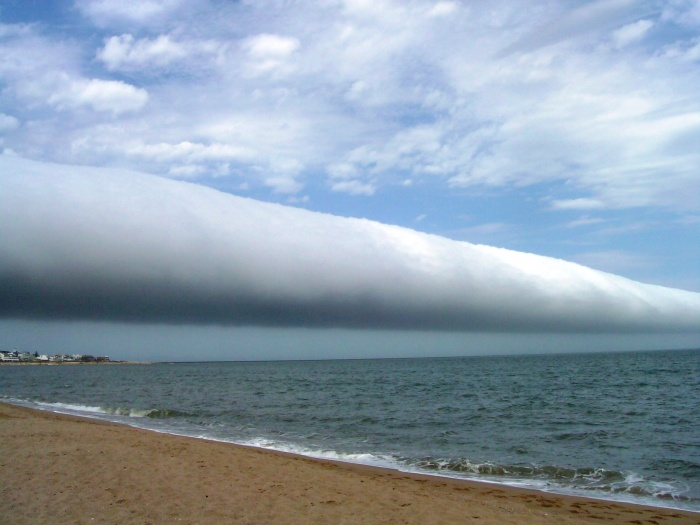 A Roll Cloud Over Uruguay Credit & Copyright: Daniela Mirner Eberl Astronomy Picture of the Day - 2010 January 5  Explanation: What kind of cloud is this? A roll cloud. These rare long clouds may form near advancing cold fronts. In particular, a downdraft from an advancing storm front can cause moist warm air to rise, cool below its dew point, and so form a cloud. When this happens uniformly along an extended front, a roll cloud may form. Roll clouds may actually have air circulating along the long horizontal axis of the cloud. A roll cloud is not thought to be able to morph into a tornado. Unlike a similar shelf cloud, a roll cloud, a type of Arcus cloud, is completely detached from their parent cumulonimbus cloud. Pictured above, a roll cloud extends far into the distance in 2009 January above Las Olas Beach in Maldonado, Uruguay.