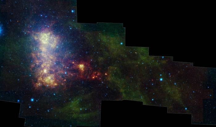 The Tail of the Small Magellanic Cloud Credit: NASA / JPL-Caltech / STScI Astronomy Picture of the Day - 2010 January 7  Explanation: A satellite galaxy of our Milky Way, the Small Magellanic Cloud is wonder of the southern sky, named for 16th century Portuguese circumnavigator Ferdinand Magellan. Some 200,000 light-years distant in the constellation Tucana, the small irregular galaxy's stars, gas, and dust that lie along a bar and extended
