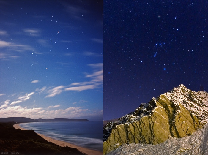 Scenes from Two Hemispheres Credit & Copyright: Babak Tafreshi (TWAN) Astronomy Picture of the Day - 2010 January 15  Explanation: The stars of a summer night on the left and the winter night sky on the right are the same stars. In fact, both pictures were taken in late December and have similar fields of view. The left panel shows a scene from a beach on Bruny Island off the coast of Tasmania, Australia, while the right panel features the sky over the snowy Alborz Mountains of northern Iran. But if the sky on one side still looks unfamiliar to you, just put your cursor over the image to see an alternate version. The alternate image will trace the outlines of the familiar constellation of Orion, as seen from the southern and northern hemispheres of planet Earth.