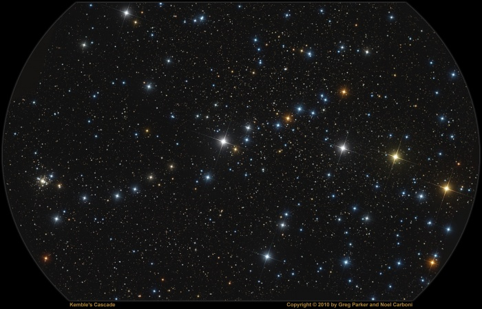 Kemble's Cascade Credit & Copyright: Processing - Noel Carboni, Imaging - Greg Parker, New Forest Observatory Astronomy Picture of the Day - 2010 January 28  Explanation: An asterism is just a recognized pattern of stars that is not one the 88 official constellations. For example, one of the most famous (and largest) asterisms is the Big Dipper within the constellation Ursa Major. But this pretty chain of stars, visible with binoculars towards the long-necked constellation of Camelopardalis, is also a recognized asterism. Known as Kemble's Cascade, it contains about 20 stars nearly in a row, stretching over five times the width of a full moon. Tumbling from the upper right to lower left in the picture, Kemble's Cascade was made popular by astronomy enthusiast Lucian Kemble. The bright object at the lower left is the relatively compact open cluster of stars, NGC 1502.