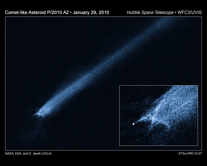 P/2010 A2: Unusual Asteroid Tail Implies Powerful Collision Credit: NASA, ESA, D. Jewitt (UCLA) Astronomy Picture of the Day - 2010 February 3  Explanation: What is this strange object? First discovered on ground based LINEAR images on January 6, the object appeared unusual enough to investigate further with the Hubble Space Telescope last week. Pictured above, what Hubble saw indicates that P/2010 A2 is unlike any object ever seen before. At first glance, the object appears to have the tail of a comet. Close inspection, however, shows a 140-meter nucleus offset from the tail center, very unusual structure near the nucleus, and no discernable gas in the tail. Knowing that the object orbits in the asteroid belt between Mars and Jupiter, a preliminary hypothesis that appears to explain all of the known clues is that P/2010 A2 is the debris left over from a recent collision between two small asteroids. If true, the collision likely occurred at over 15,000 kilometers per hour -- five times the speed of a rifle bullet -- and liberated energy in excess of a nuclear bomb. Pressure from sunlight would then spread out the debris into a trailing tail. Future study of P/2010 A2 may better indicate the nature of the progenitor collision and may help humanity better understand the early years of our Solar System, when many similar collisions occurred.