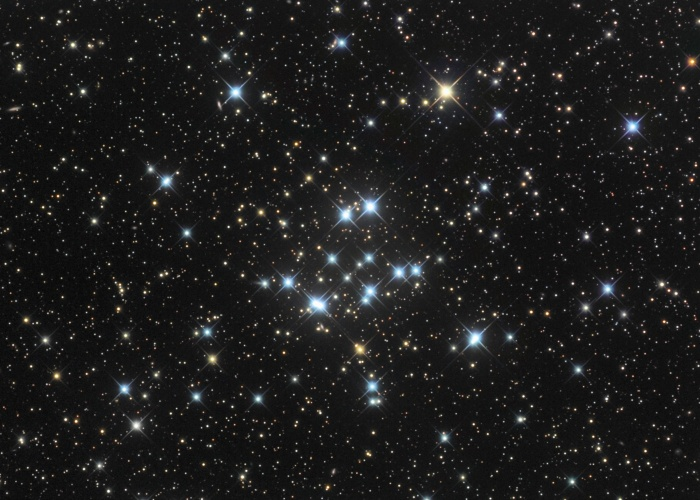 Star Cluster M34 Credit & Copyright: Bob Franke Astronomy Picture of the Day - 2010 February 11  Explanation: This pretty open cluster of stars, M34, is about the size of the Full Moon on the sky. Easy to appreciate in small telescopes, it lies some 1,800 light-years away in the constellation Perseus. At that distance, M34 physically spans about 15 light-years. Formed at the same time from the same cloud of dust and gas, all the stars of M34 are about 200 million years young. But like any open star cluster orbiting in the plane of our galaxy, M34 will eventually disperse as it experiences gravitational tides and encounters with the Milky Way's interstellar clouds and other stars. Over four billion years ago, our own Sun was likely formed in a similar open star cluster.