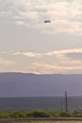 Parachute descending following Pad Abort 1 (PA-1) launch on May 6, 2010