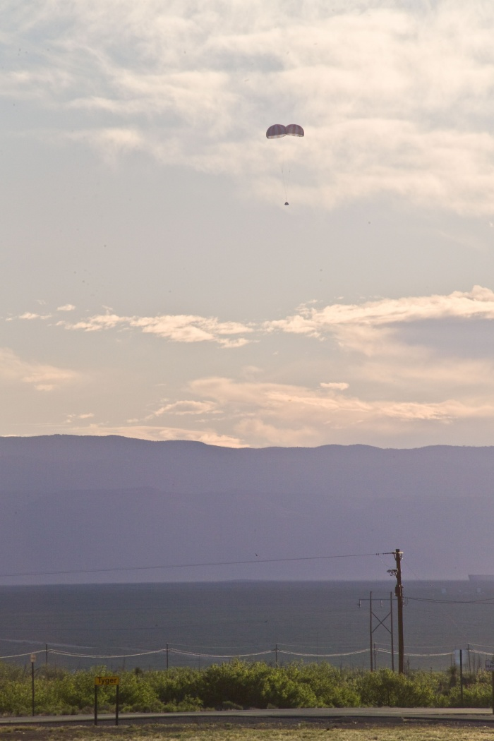 6 May 2010 --- This is a scene of parachute descending following Pad Abort 1 (PA-1) launch on May 6, 2010 at White Sands Missile Range, N.M. PA-1 is the first fully integrated flight test of the launch abort system being developed for the Orion crew exploration vehicle. Photo credit: NASA or National Aeronautics and Space Administration