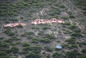 Aerial scene following the Pad Abort-1 test on May 6, 2010: Crew Module and Main Parachutes