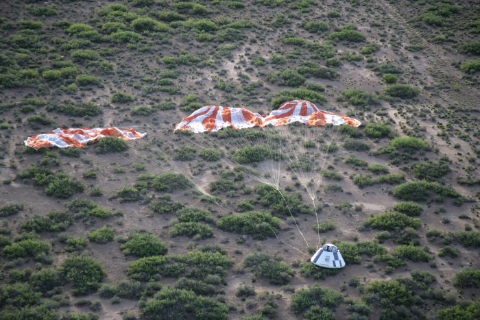 6 May 2010 --- This aerial scene following the Pad Abort-1 test on May 6, 2010 shows the Crew Module the Main Parachutes on the ground at the White Sands Missile Range in New Mexico. Photo credit: U.S. Army's White Sands Missile Range