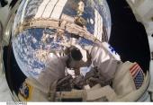 Garrett Reisman, STS-132 mission, takes a