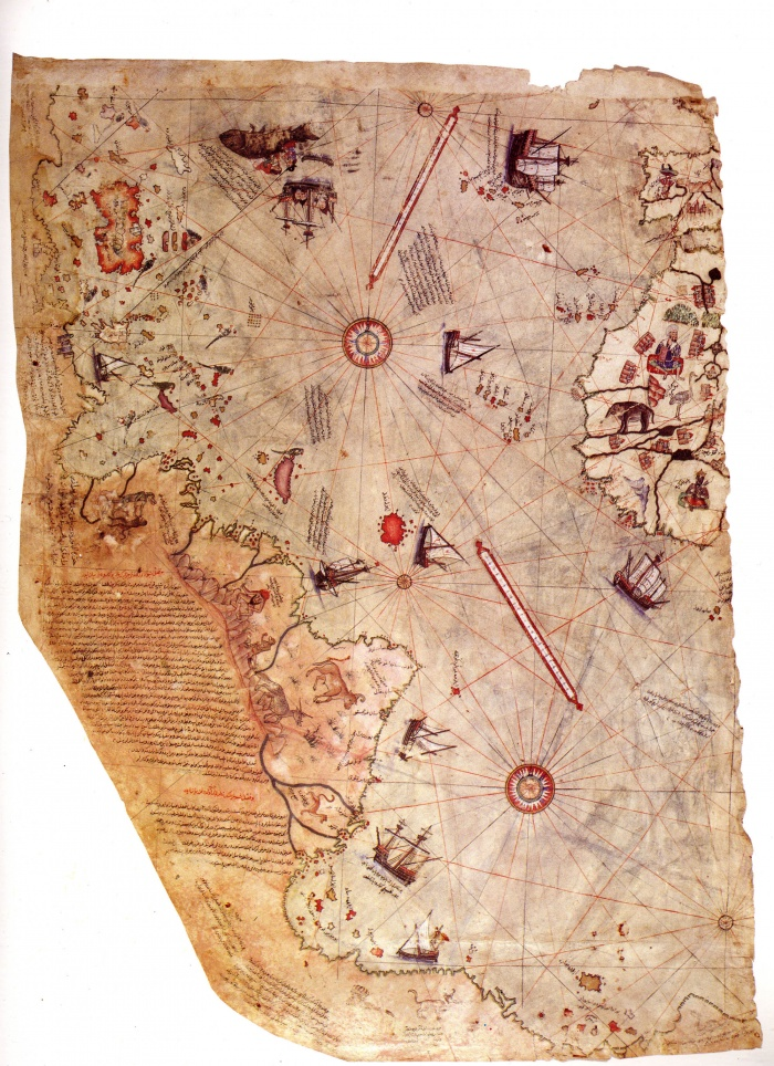 The Piri Reis map is a pre-modern world map compiled in 1513 from military intelligence by the Ottoman-Turkish admiral and cartographer Piri Reis. The half of the map that survives shows the western coasts of Europe and North Africa and the coast of Brazil with reasonable accuracy. Various Atlantic islands including the Azores and Canary Islands are depicted, as is the mythical island of Antillia and possibly Japan. The historical importance of the map lies in its demonstration of the extent of Portuguese exploration of the New World by approximately 1510, and in its claim to have used Columbus's maps, otherwise lost, as a source.