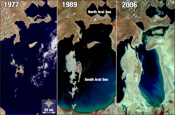 The Aral Sea lies between Uzbekistan (to the south) and Kazakhstan (to the north). Once the fourth largest lake in the world, the Aral Sea is now less than half of its original size. The Aral Sea is a terminal, or endorheic, sea (meaning no water flows out of it). It is fed by the Syr Darya and the Amu Darya Rivers, but Soviet river diversions for irrigation made over 40 years ago have starved the Aral Sea of water.  In 2001, the World Bank funded the construction of an 8-mile dam to separate the North and South Aral, and thereby save the smaller and less polluted North Aral Sea. The North Aral has been growing since completion of the Kok-Aral Dam in the summer of 2005. Repairs and updates to the inefficient Soviet-era canals have also played a role in the rejuvenation of the North Aral.