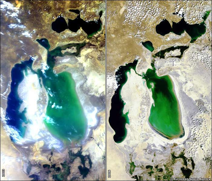 Aral sea shown by the European Space Agency image of 2003 and 2006. The Kazakh government hopes a multi-million dollar loan from the World Bank will save the northern part of the Aral Sea. Photo ESA