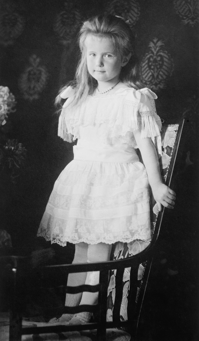 Grand Duchess Anastasia Nikolaevna of Russia, 1901-1918, standing on a chair. The photo was taken in approximately 1906.