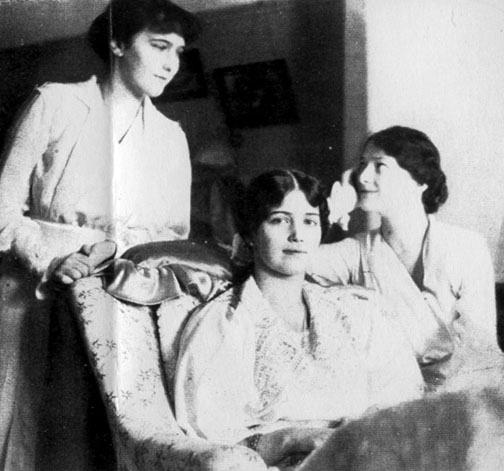Grand Duchesses Anastasia, Maria, and Tatiana Nikolaevna of Russia in captivity during the spring of 1917 is from a posting at Alexanderpalace.org