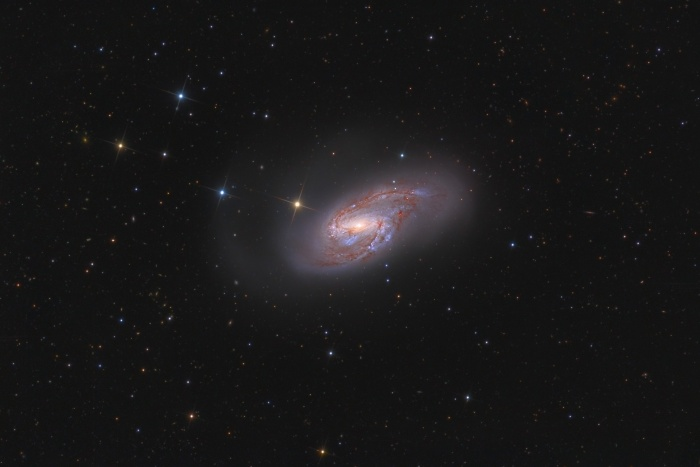 Multiverses: Spiral Galaxy M66  Credit:Russell Croman Astronomy Picture of the Day -2010 November 13  Explanation: Big beautiful spiral galaxy M66 lies a mere 35 million light-years away. About 100 thousand light-years across, the gorgeous island universe is well known to astronomers as a member of the Leo Triplet of galaxies. In M66, pronounced dust lanes and young, blue star clusters sweep along spiral arms dotted with the tell-tale glow of pink star forming regions. This colorful and deep view also reveals faint extensions beyond the brighter galactic disk. Of course, the bright, spiky stars lie in the foreground, within our own Milky Way Galaxy, but many, small, distant background galaxies can be seen in the cosmic snapshot. Gravitational interactions with its neighboring galaxies have likely influenced the shape of spiral galaxy M66.