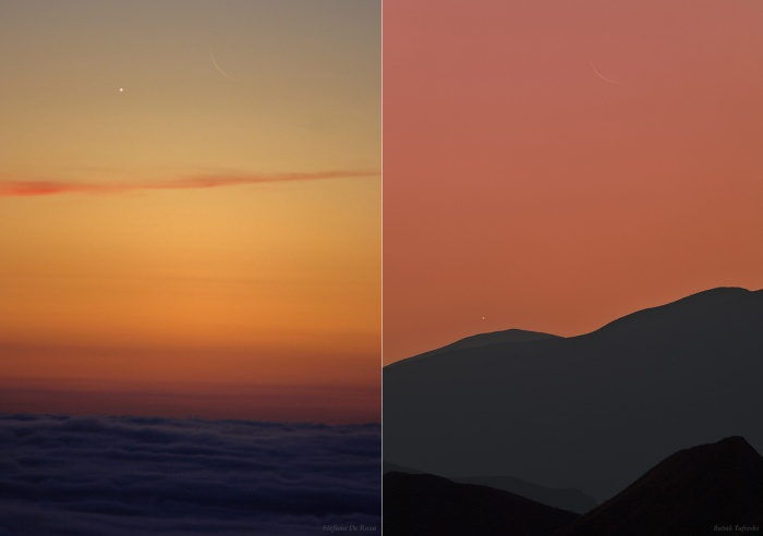 Multiverses: Two Views, Two Crescents  Credit:   Left - Stefano De Rosa, Right - Babak Tafreshi (TWAN) Astronomy Picture of the Day - 2010 November 11  Explanation: Venus rose in a glowing dawn sky on November 5th, just before the Sun. For early morning risers, its brilliant crescent phase was best appreciated with binoculars or a small telescope. On that day the crescent Venus also appeared in close conjunction with another lovely crescent that hugs the eastern horizon in planet Earth's morning skies, the waning crescent Moon. The celestial photo-op is captured here from two locations. Left, separated by less than a degree, the two crescents hover above a sea of clouds. The picture was recorded from an Alpine mountain pass not far from Turin, Italy. On the right is a sharp telephoto view taken before an earlier sunrise, farther east in the Alborz Mountains of Iran. In steady skies the slender Moon is still sliding toward Venus, the bright planet's compact crescent just clearing the mountainous horizon. For now, the crescent phase of Venus remains easy to enjoy with binoculars in November's dawn skies. The first observations of the phases of Venus, made by Galileo with his telescope in 1610, agreed with the predictions of the heliocentric Copernican model of the Solar System.
