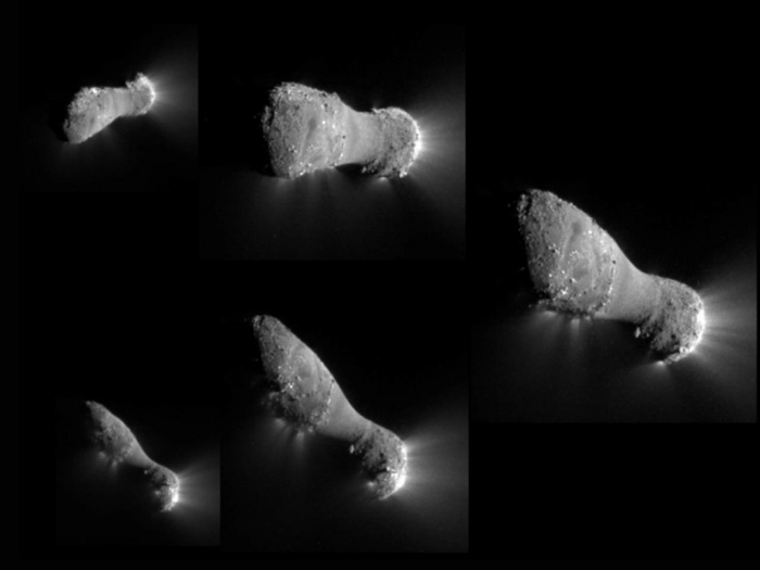 Multiverses: Comet Hartley 2 Flyby     Credit: NASA, JPL-Caltech, UMD, EPOXI Mission  Astronomy Picture of the Day - 2010 November 5  Explanation: Follow these 5 frames clockwise starting from the top left to track the view from the EPOXI mission spacecraft as it approached, passed under, and then looked back at the nucleus of comet Hartley 2 on November 4. Its closest approach distance was about 700 kilometers. In fact, this encounter was the fifth time a spacecraft from planet Earth has imaged a comet close-up. But Hartley 2's nucleus is definitely the smallest one so far, its long axis spanning only about 2 kilometers (1.2 miles). Though Hartley 2 is small, these stunning images showing jets of dust and gas indicate an impressively active surface. The jets are seen originating from the rough surface areas, with sunlight illuminating the nucleus from the right. Remarkably, rough areas at both ends of the elongated nucleus are joined by a narrower, smooth waist. The EPOXI mission reuses the Deep Impact spacecraft that launched a probe impacting the nucleus of comet Tempel 1 in 2005.