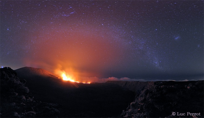 Multiverses: The Milky Way Over the Peak of the Furnace  Credit: Luc Perrot  Astronomy Picture of the Day - 2010 November 1  Explanation: On Reunion Island, it is known simply as