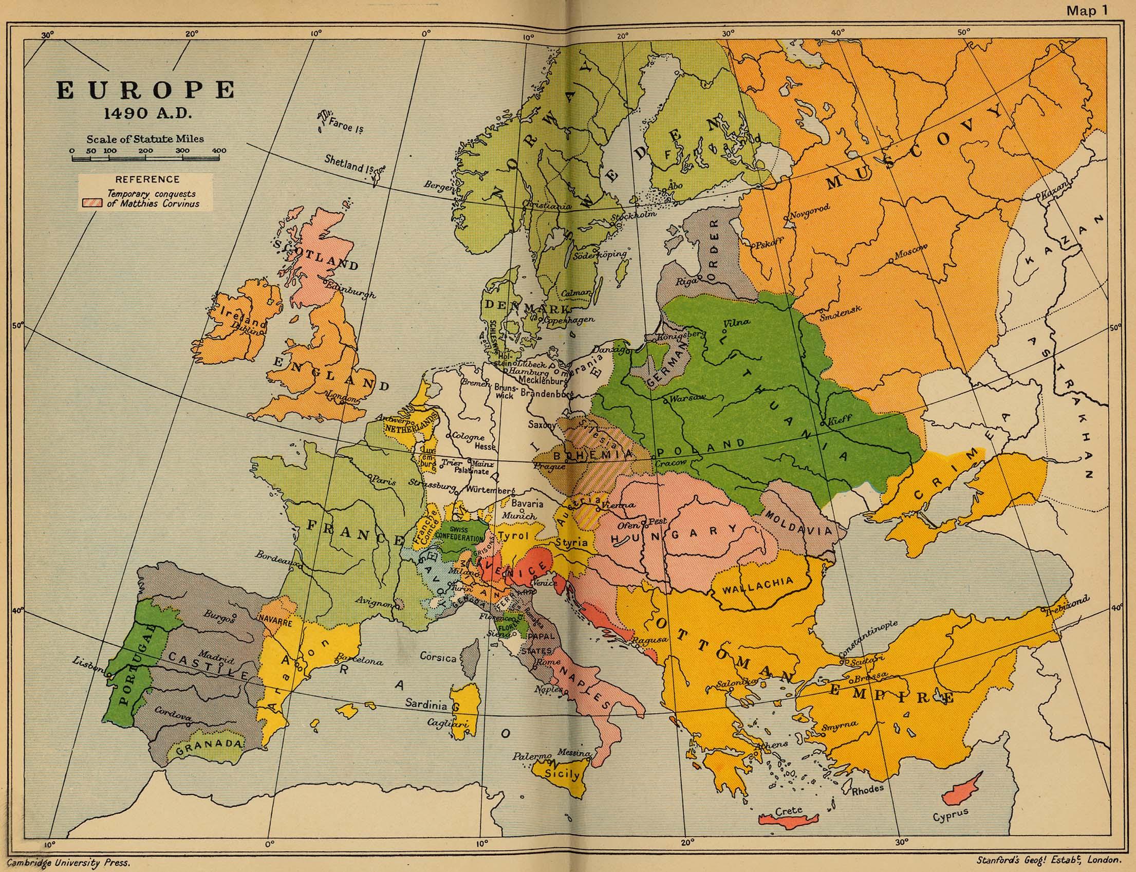 Texas Vs Europe Map.Europe 1490 Cosmolearning History