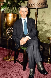 Tesla at the New Yorker Hotel, at his 78th birthday