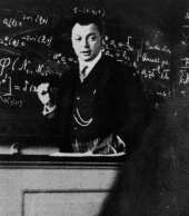 Wolfgang Pauli lecturing in 1929.