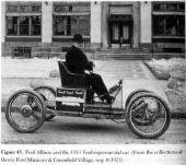 Frede Allison in the 1913 Ford Experimental Electric car