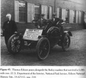 Thomas Edison poses with Bailey electric car