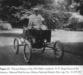 Thomas Edison in his 1901 Baker electric