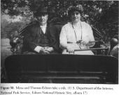 Mina Edison driving Thomas Edison in an electric car