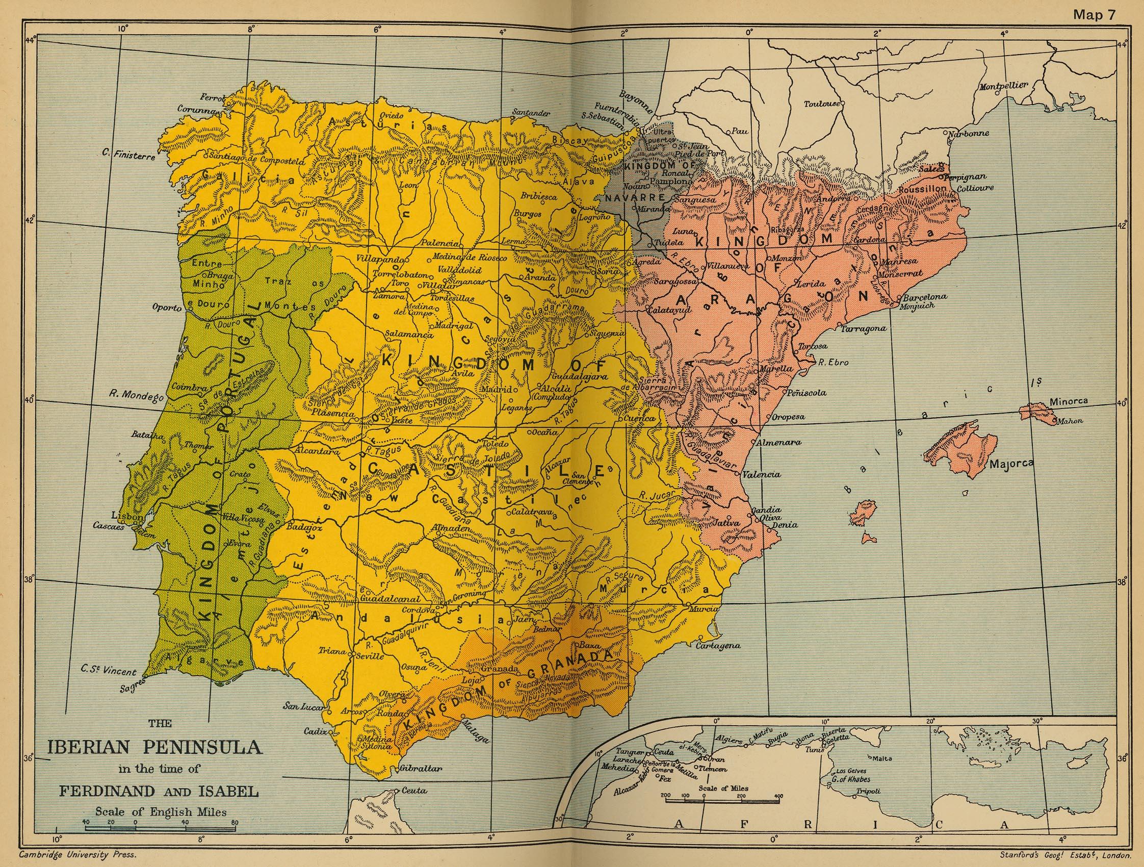 Map Of Spain 1700.Iberian Peninsula Ferdinand Isabel 1469 1516 Cosmolearning