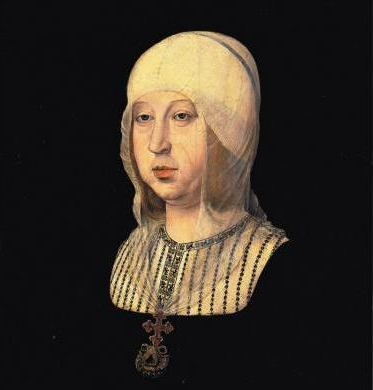 Portrait of Isabella in her later years, by Juan de Flandes, c. 1500.Isabella I, in Old Spanish Ysabel I, modern Isabel I, Latin Helizabeth I (Madrigal de las Altas Torres, Ávila, April 22, 1451 – November 26, 1504 in Medina del Campo, Valladolid) was Queen of Castile and León. With her husband, Ferdinand II of Aragon, unified Spain under their grandson, Charles V, Holy Roman Emperor. The unification of the country (Reconquista) brought the Spanish Inquisition and the support to Christopher Columbus' discoveries of the new World, setting the foundations of one of the largest empires in History.