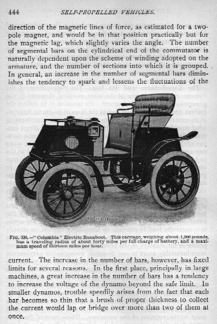 EV History – Self Propelled Vehicles (by Theo. Audel & Co)  The image is a page from the Theo. Audel & Company (publisher) book titled Self Propelled Vehicles (A Practical Treatise) by James E. Homans, published in 1905.  Source: http://www.eaaev.org
