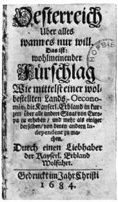 Title page to Philipp von Hornigk statement of mercantilist philosophy