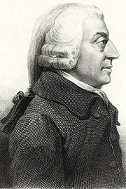 Adam Smith (1723-1790) is popularly seen as the father of modern political economy. His publication of the An Inquiry Into the Nature and Causes of the Wealth of Nations in 1776 happened to coincide not only with the American Revolution, shortly before the Europe wide upheavals of the French Revolution, but also the dawn of a new industrial revolution that allowed more wealth to be created on a larger scale than ever before. Smith was a Scottish moral philosopher, whose first break was The Theory of Moral Sentiments (1759). He argued in this that people's ethical systems develop through personal relations with other individuals, that right and wrong are sensed through others' reactions to one's behaviour. This gained Smith more popularity than his next work, The Wealth of Nations, which the general public initially ignored.[25] Yet Smith's political economic magnum opus was successful in circles that mattered. In The Wealth of Nations Smith makes a case that the free market, while appearing chaotic and unrestrained, is actually guided to produce the right amount and variety of goods by an
