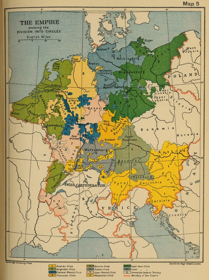 The Empire Divided into Circles (XV Century): Austrian, Burgundian, Rhenish, Franconian, Bavarian, Suabian, Westphalian and Saxon CirclesSource: University of Texas at Austin, Perry-Castaneda Library, Map Collectionhttp://www.lib.utexas.edu/maps/From