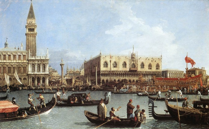 Return of the Bucintoro to the Molo on Ascension Day by Canaletto, 1732. Royal Collection, Windsor.