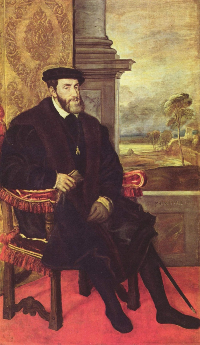 Painting: Charles V, Holy Roman Emperor, King of the Romans, King of Italy. Charles I, King of Spain.Painting traditionally attributed to Titian, today attributed to Lambert SustrisCharles V was son of Philip I of Castile (Philip the Handsome) and Juana of Castile (Joan the Mad of Castile). His maternal grandparents were Ferdinand II of Aragon and Isabella I of Castile, the Catholic Monarchs who unified who unified the kingdom of Spain. The youngest child of the Catholic Monarchs, Catherine of Aragon, was Queen of England and first wife of Henry VIII. His cousin was Mary I of England, who married his son Philip. His paternal grandparents were the Holy Roman Emperor Maximilian I and Mary of Burgundy, whose daughter Margaret raised him. As the first heir of the unified kingdom of Spain, he is considered often the first King of Spain. As Charles I of Spain he provided five ships that allowed the portuguese captain Ferdinand Magellan and his Basque navigator Juan Sebastian Elcano to circumnavigate the planet for the first time. Magellan had constantly denied his enterprise by Manuel I of Portugal. The voyage was the basis for the Pacific oceanic empire of Spain.Charles V is best known for his role in the Protestant Reformation and the convocation of the Council of Trent.