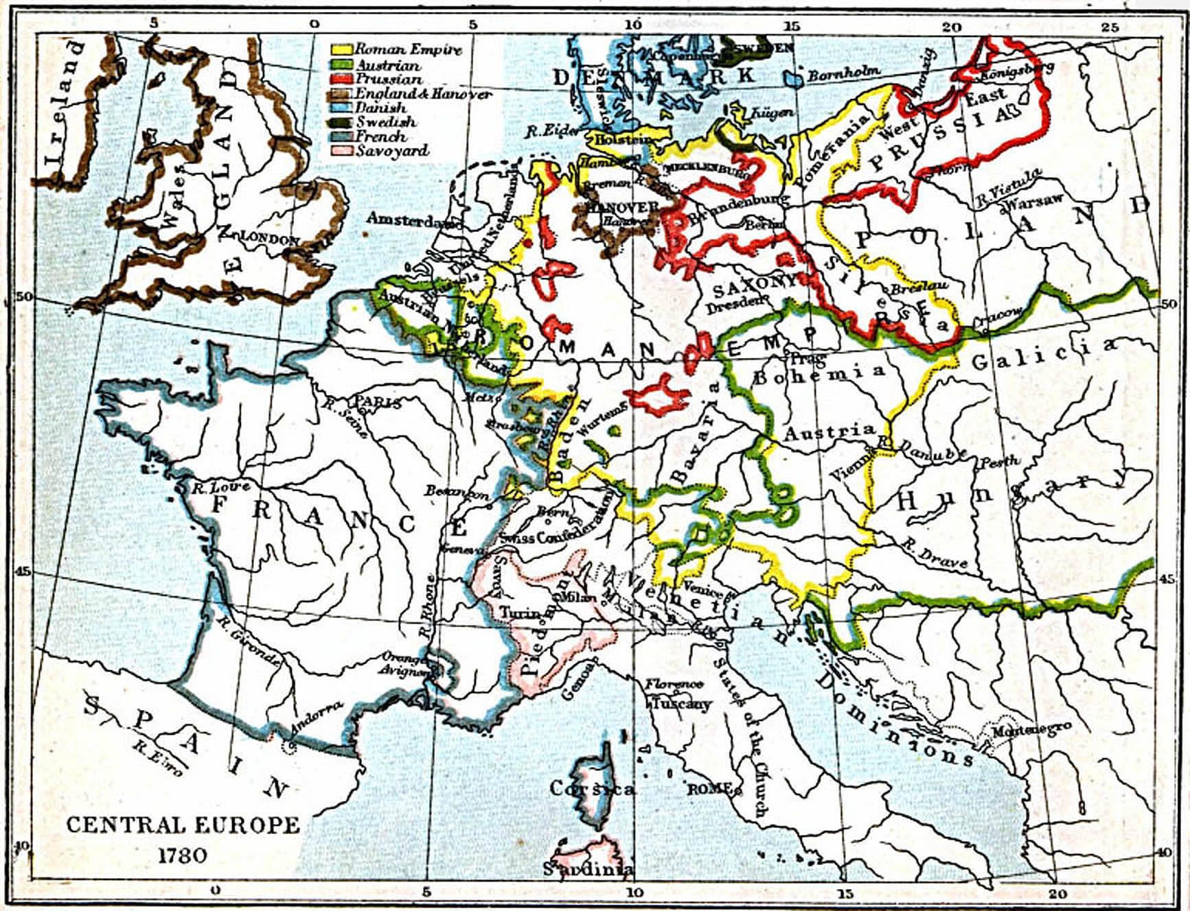 Map Of Europe 1780.Central Europe 1780 A D Cosmolearning History