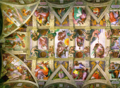The left half of the ceiling of the Sistine Chapel, painted by Michelangelo in 1508, restored